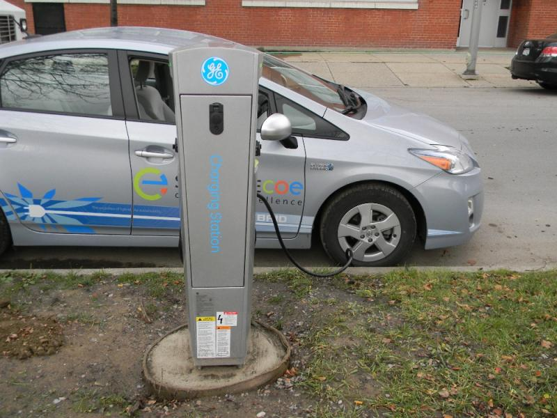 Smack dab in the middle of the Buffalo Niagara Medical Campus, an electric vehicle charges up for free.