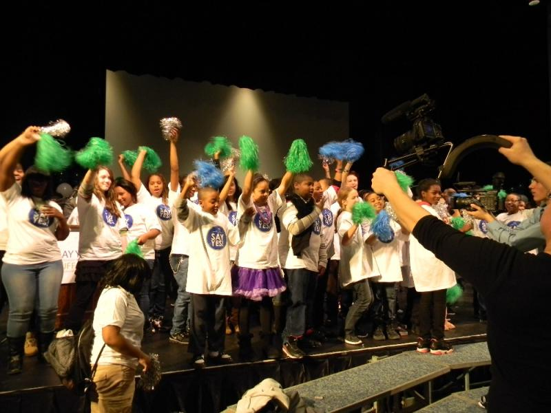 Buffalo Public School students celebrate after city and local leaders announced free college tuition for high school graduates.