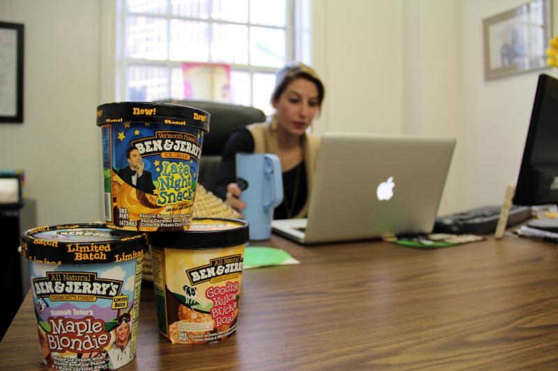 Brenna's downtown office (which she borrows from a cousin) is decorated with goodies from her former employer, Ben & Jerry's.