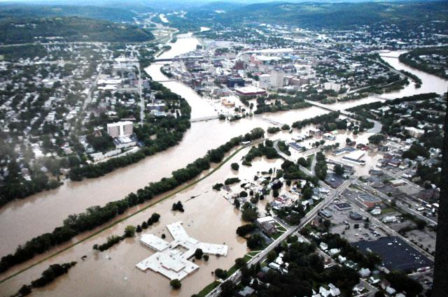 Flooding in downtown Binghamton following Tropical Storm Lee.