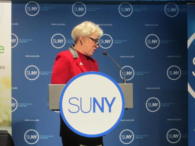 SUNY Chancellor Nancy Zimpher delivering her second annual State of the University address in Albany.