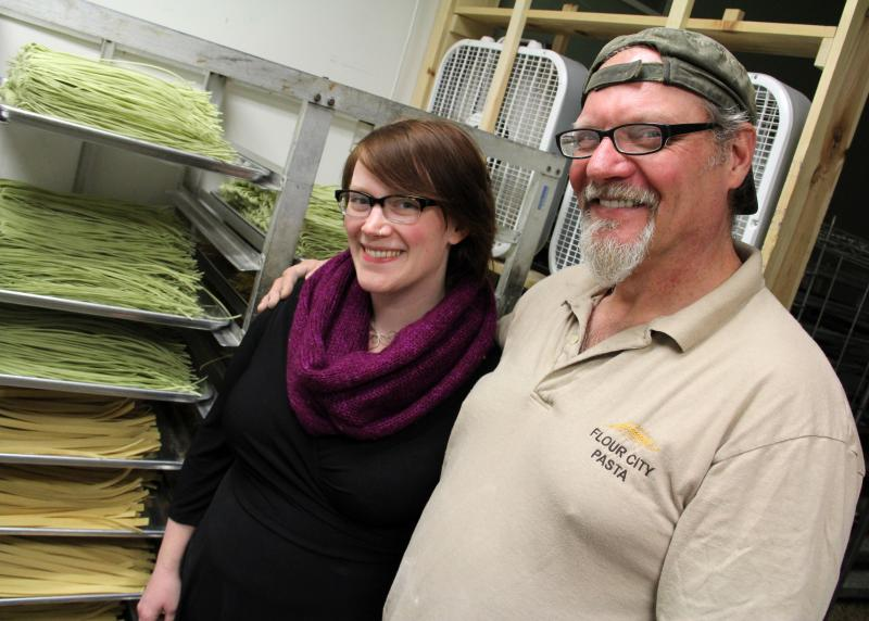 "Jessica Toner and Jon Stadt, daughter-father co-owners of Flour City Pasta and Milling Co. Stadt built the company's drying room to imitate ""the streets of Italy."""