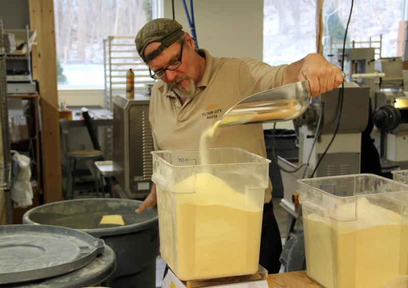 Jon Stadt at work. Stadt is Flour City's chief pasta maker.