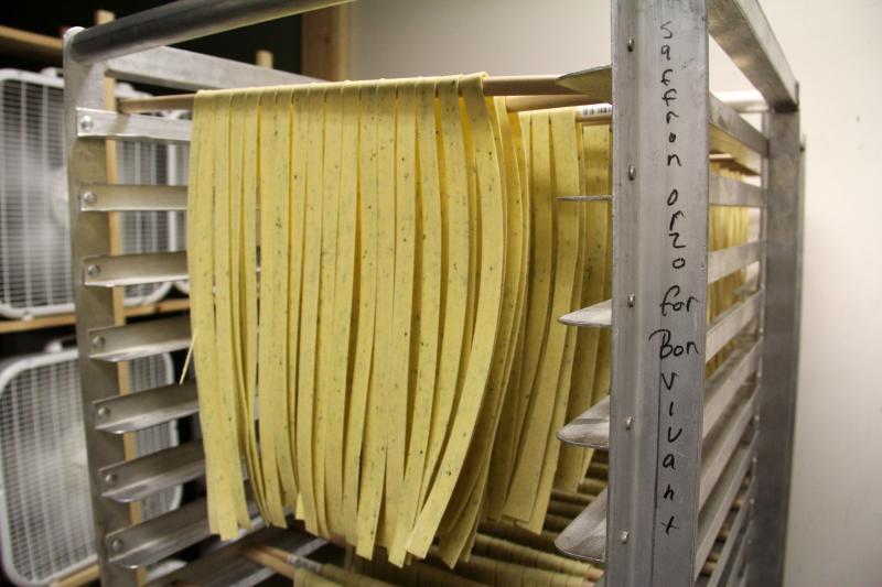 "Fettuccine hanging to dry. Flour City dries its pasta ""low and slow"" - at about 85 degrees for 24 to 36 hours, depending on the type."