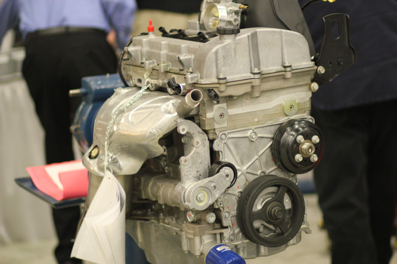 An engine born at the GM Tonawanda Plant greets visitors at the 2011 Buffalo Auto Show.
