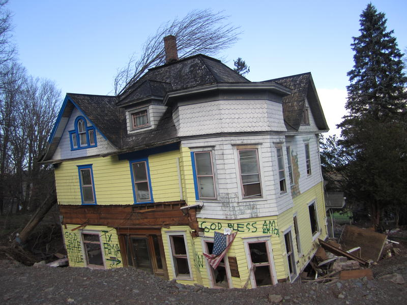 A home in the Catskill Mountain town of Prattsville after Tropical Storm Irene
