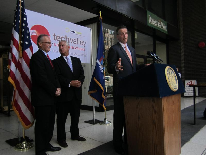 """This region is hot. It's incredibly hot,"" said Lieutenant Governor Bob Duffy, touting the government's role in helping Tech Valley Communications expand and stay in Albany."