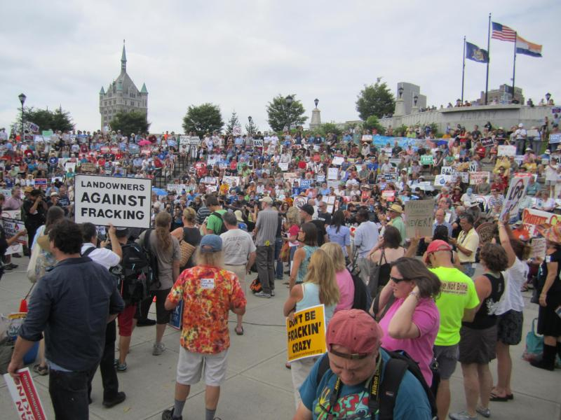 Hundreds of fracking opponents gathered along the Hudson River in Albany's Corning Preserve.