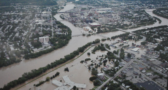Flooding in downtown Binghamton at the convergence of the Susquehanna and Chenango Rivers after Tropical Storm Lee.