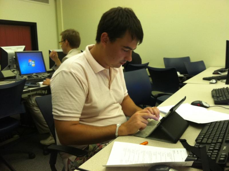 Russian graduate student, Filipp Banfilov, takes a test in his digital forensics course at UAlbany.