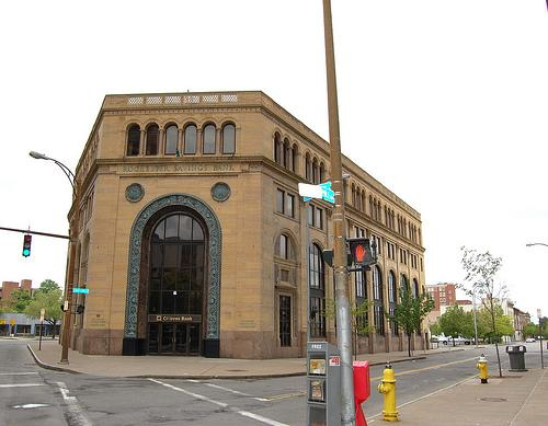 The Rochester Savings Bank building dates from 1927 and was placed on the Nationa Register of Historic Places in 1972