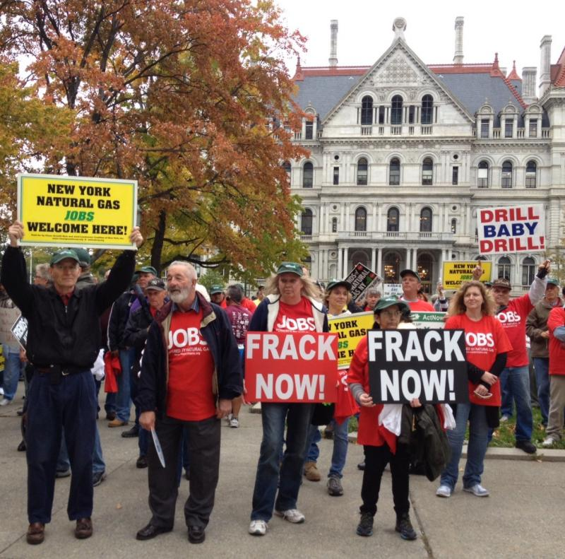 Proponents of fracking natural gas in Albany on Monday