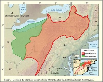 A USGS map of the Utica Shale, the red shows areas with natural gas reserves, the green shows oil reserves.