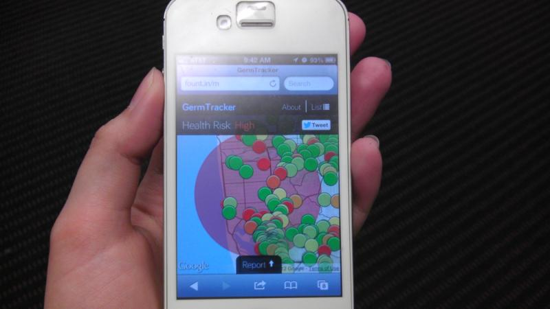 Germ Tracker shows the user how many people around them might be contagious