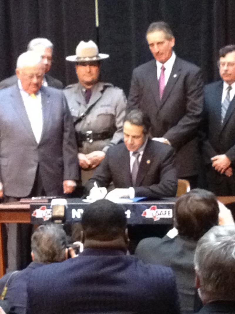 Cuomo in Rochester signing NYSAFE Bill