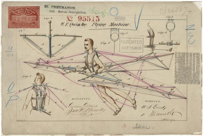 A patent for a flying machine from 1869.