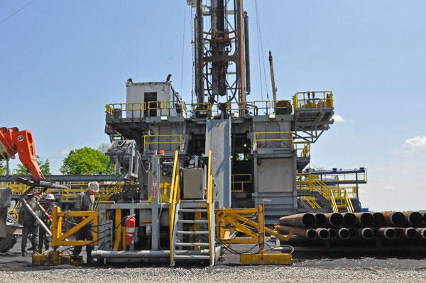 A drilling rig in Susquehanna County, Pa.