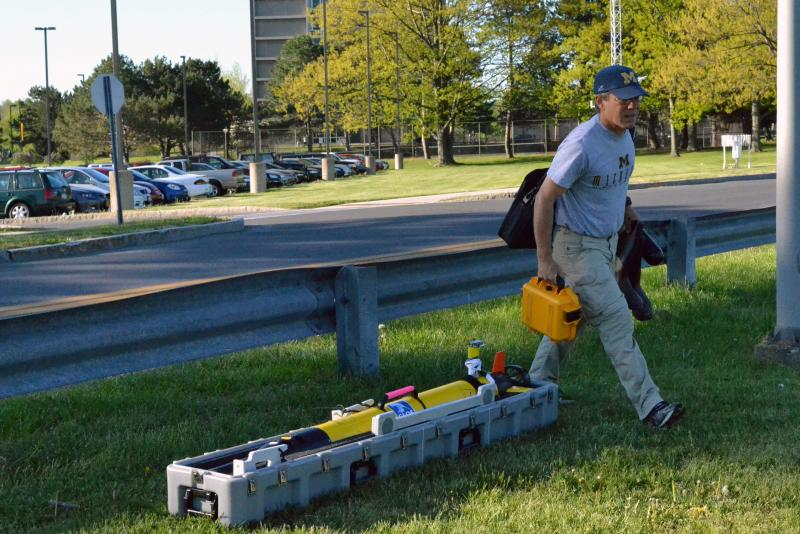 Russ Miller prepares to launch his autonomous research vehicle into Lake Ontario.