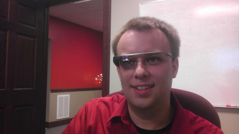 Red Bottle Design CEO Guy Paddock using the Google Glass developer's unit