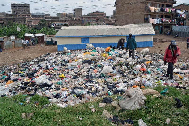 Residents of the Nairobi slum Baba Dogo pick through a dump site in hopes of finding a few valuable scraps.