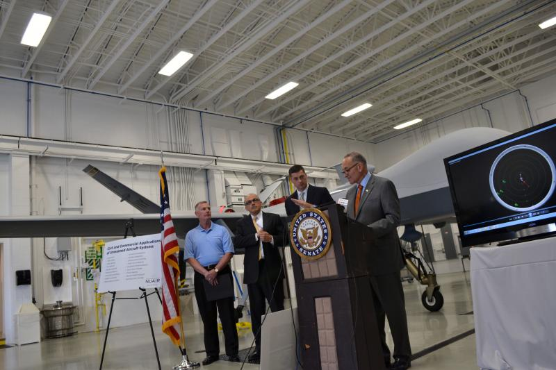 Sen. Charles Schumer, D-N.Y., speaks in support of upstate New York becoming a federally designated drone testing site.