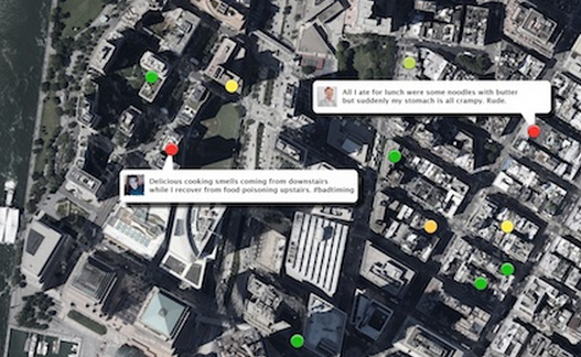 A satellite image showing sample tweets that indicate food poisoning in the nEmisis system