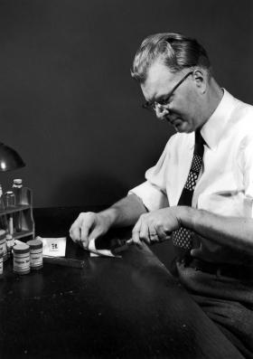 Chester Carlson demonstrates his original copying method that went on to be the heart of the Xerox machine