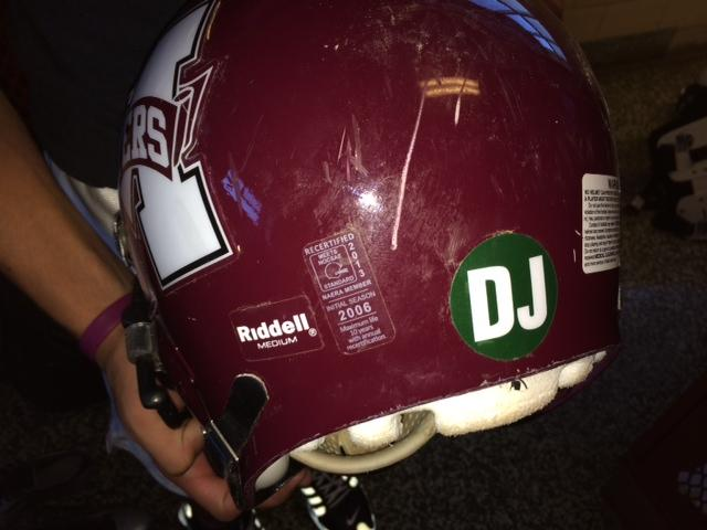 "Maryvale football helmet with the letters ""DJ"""
