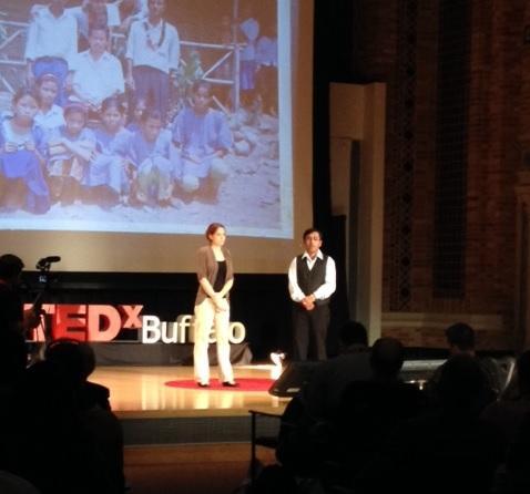Journey's End Refugee Service's Bryana DiFonzo and Bishnu Adhikari