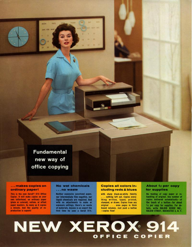Advertisement poster for the Xerox model 914