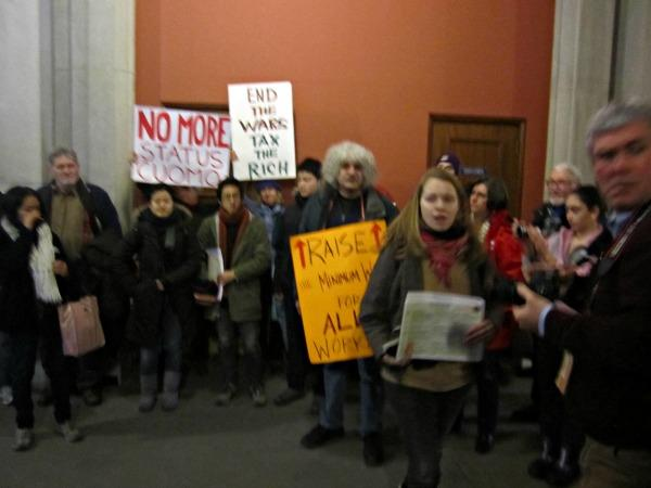 Protesters continued their rally outside the Governor's chambers in the Capitol Building