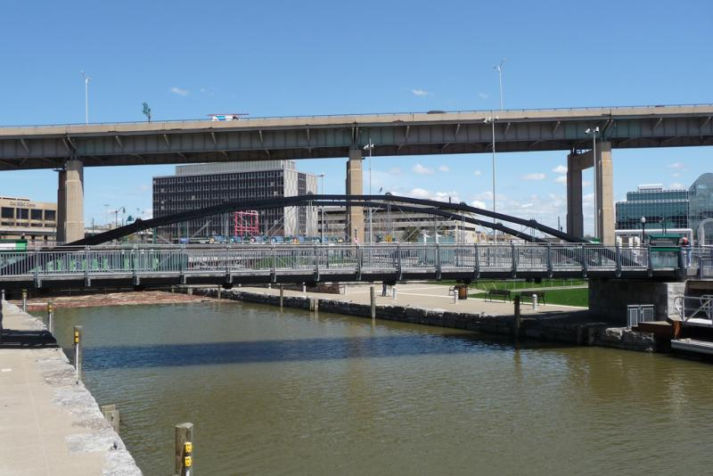 The Skyway rises five stories to cross Buffalo's Inner Harbor.