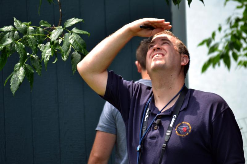 Erik Heden, a meteorologist with the National Weather Service office in Binghamton, inspects storm damage in East Syracuse.