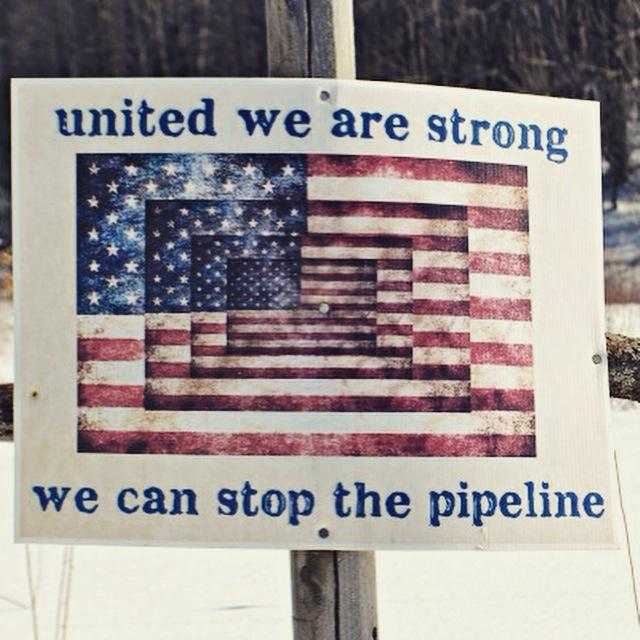 sign with American Flag and blue letters 'united we are stong we can stop the pipeline'