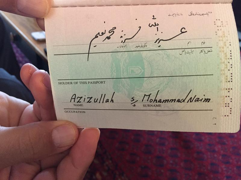 Aziz's Afghan passport reads Azizullah, son of Mohammad Naim, with no last name listed