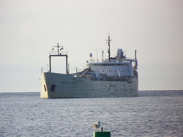 The freighter English River enters the Port of Oswego, a major shipping hub for central New York's economy.