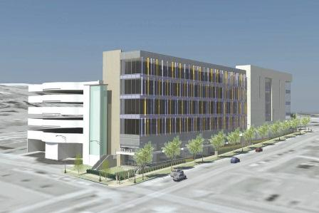 A rendering of a proposed off-campus bookstore and fitness center a developer wants to build for Syracuse University.