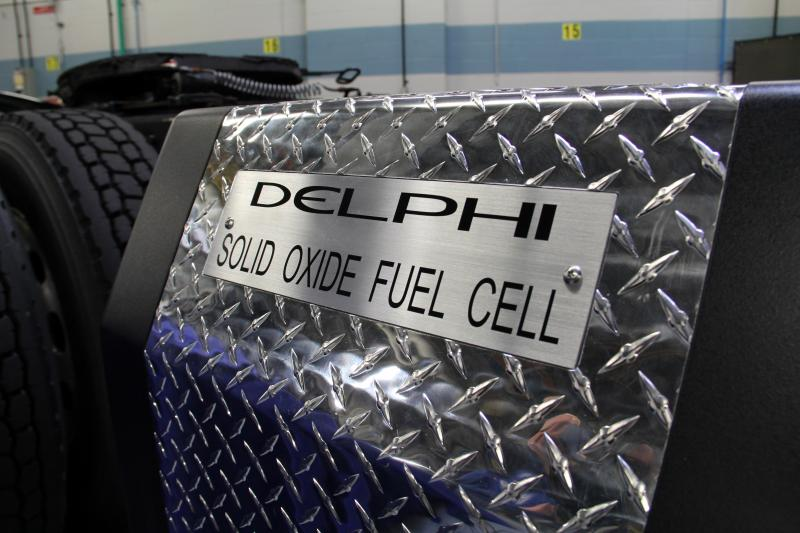 The exterior of Delphi fuel cell generator mounted on a big rig truck.