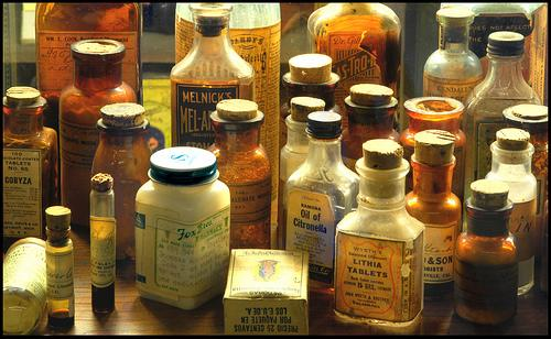 Image of old fashioned medicine bottles.