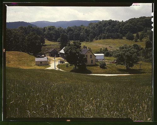 Photo of 1940s rural farm with electrical pole out front.