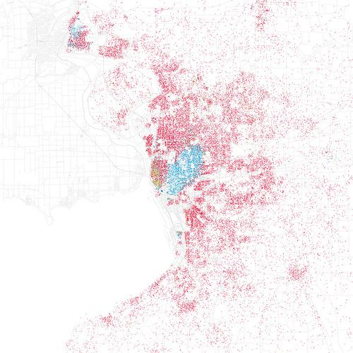 This map of Buffalo shows the distribution of where people live, by race.  Each dot represents 25 people, pink is white people and blue is black people.  Hispanic folks are in orange.