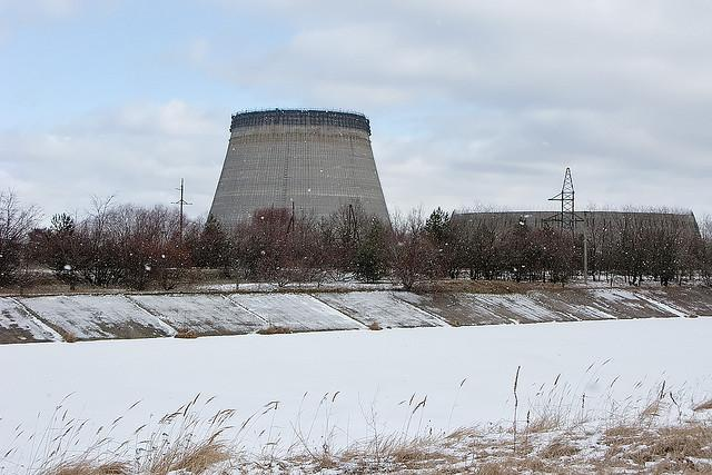 A cooling tower at Chernobyl Nuclear Plant remains incomplete. Checkpoints at the plant still keep tourists away from the heaviest areas of radiation. The facility and the surrounding town still sport unsafe levels of radioactivity.