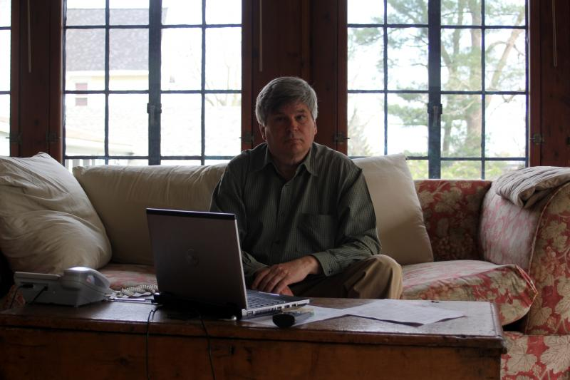 Steve Larson in his Clifton Springs, N.Y. home office.