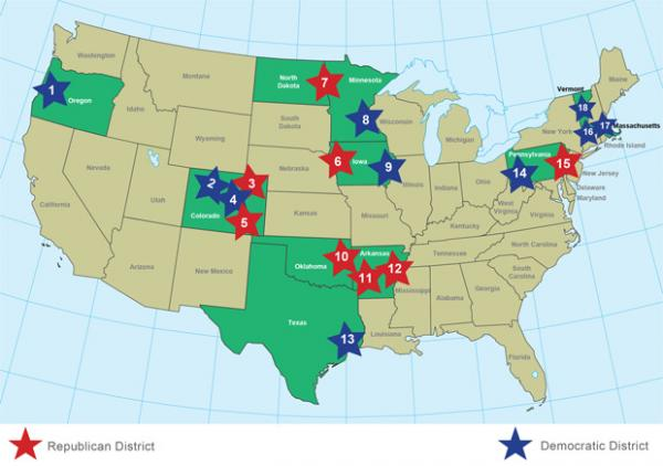A map of announced and potential wind industry layoffs, and factory slowdowns prepared by E & E