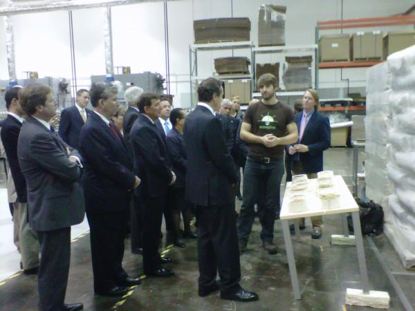 Governor Cuomo at the ecovative factory in Green Island, NY Tuesday.