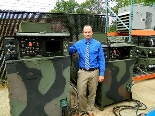U.S army engineer with a system converted to be able to power a micro-grid.