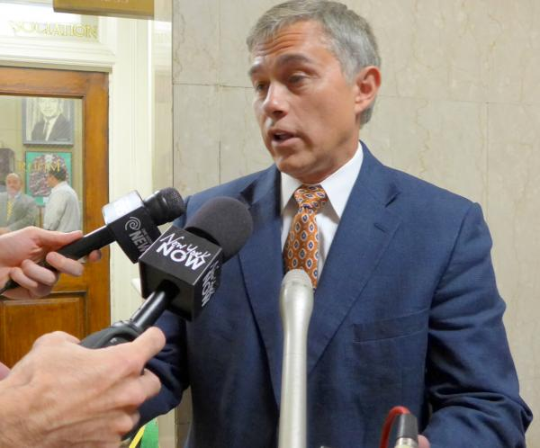 Republican candidate for Comptroller Bob Antonacci speaks to reporters at the State Capitol Wednesday August 6