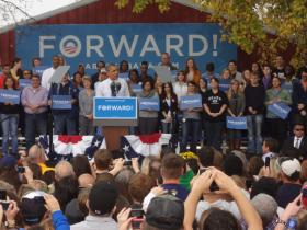 President Barack Obama campaigning in Davenport, Iowa.