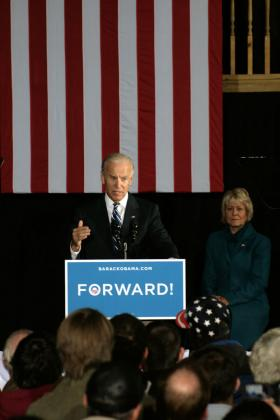 Vice President Joe Biden campaigns at the Opera House in Fort Dodge on Thursday, November 1st, 2012. 4th District Democratic Congressional Candidate Christie Vilsack stood behind Biden the entire speech.