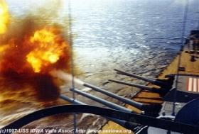 Firing the 16 inch guns moves the ship sideways.